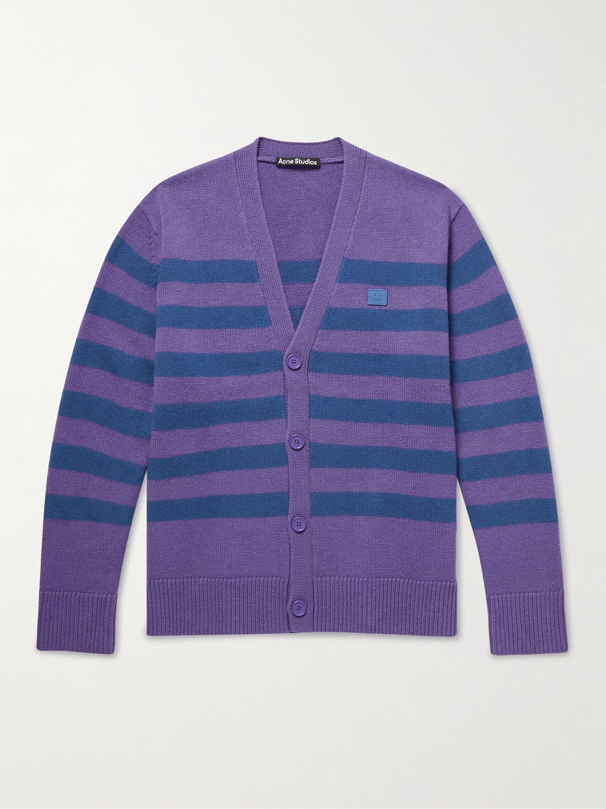 아크네 스튜디오 '페이스' 로고 울 가디건 Acne Studios Kimano Logo-Appliqued Striped Wool Cardigan,Purple
