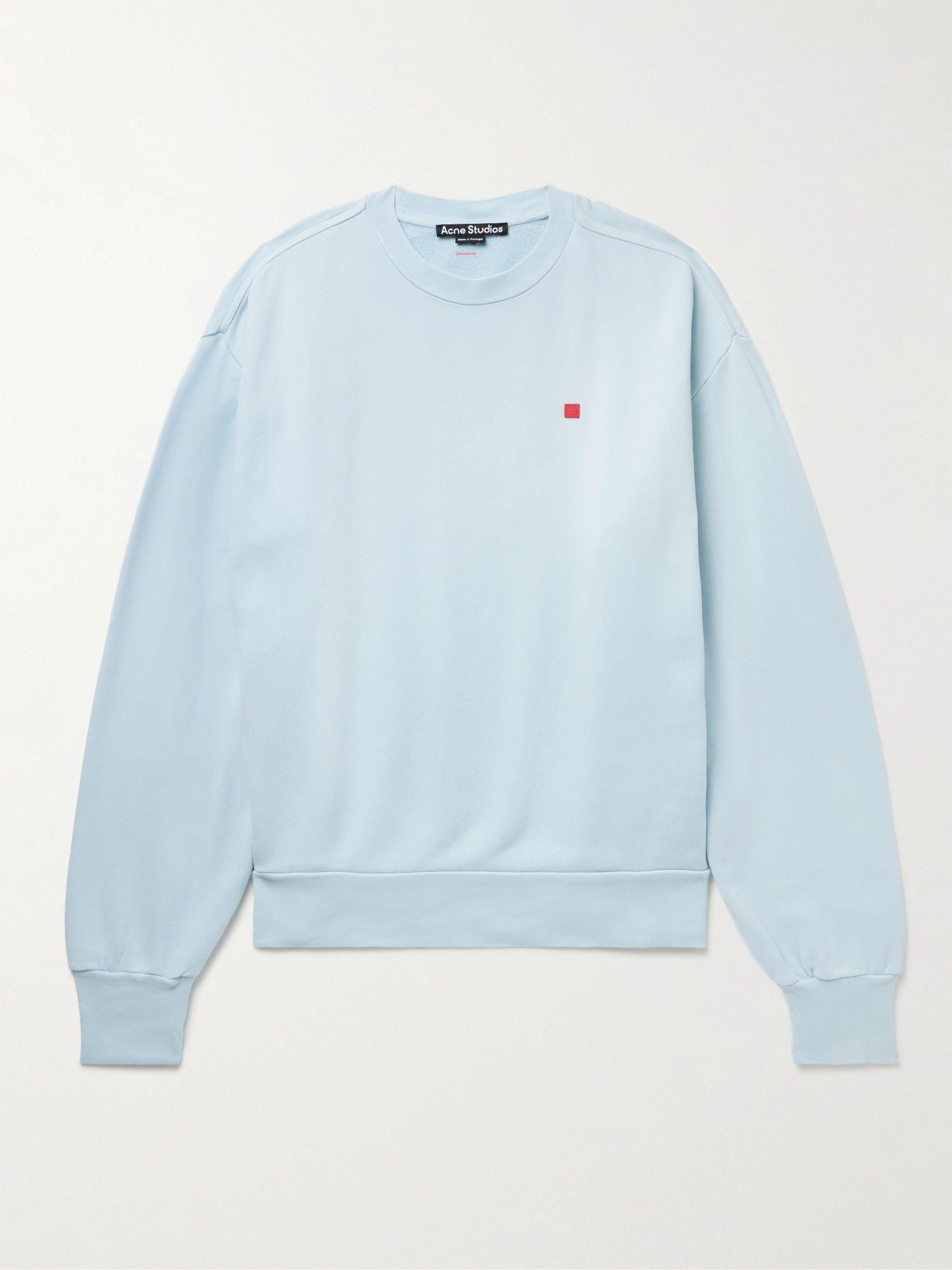 아크네 스튜디오 '페이스' 로고 맨투맨 Acne Studios Fiah Logo-Appliqued Cotton-Jersey Sweatshirt,Light blue
