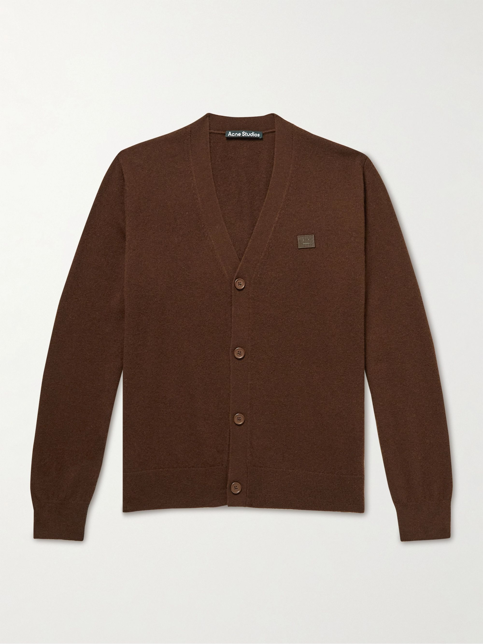 아크네 스튜디오 '페이스' 로고 울 가디건 Acne Studios Keve Logo-Appliqued Wool Cardigan,Dark brown