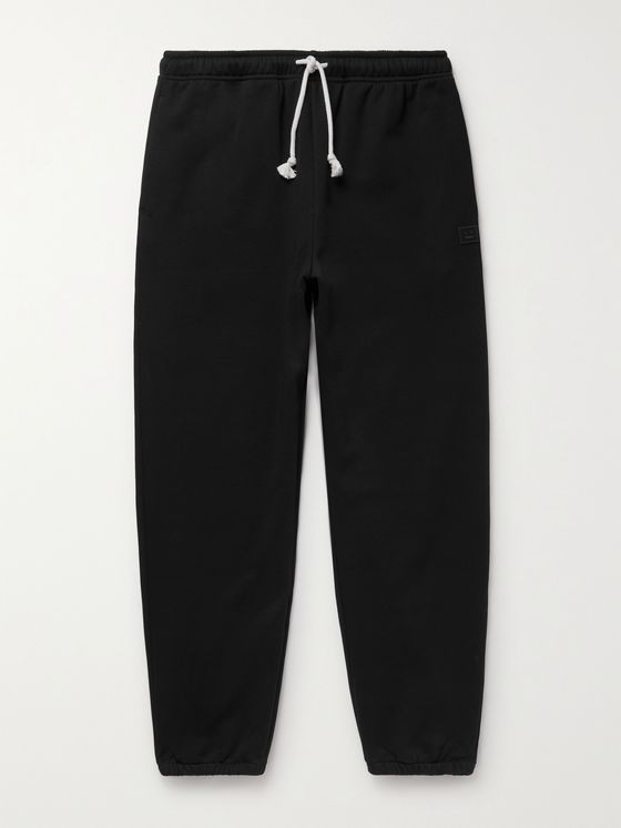 ACNE STUDIOS Tapered Logo-Appliquéd Loopback Cotton-Jersey Sweatpants