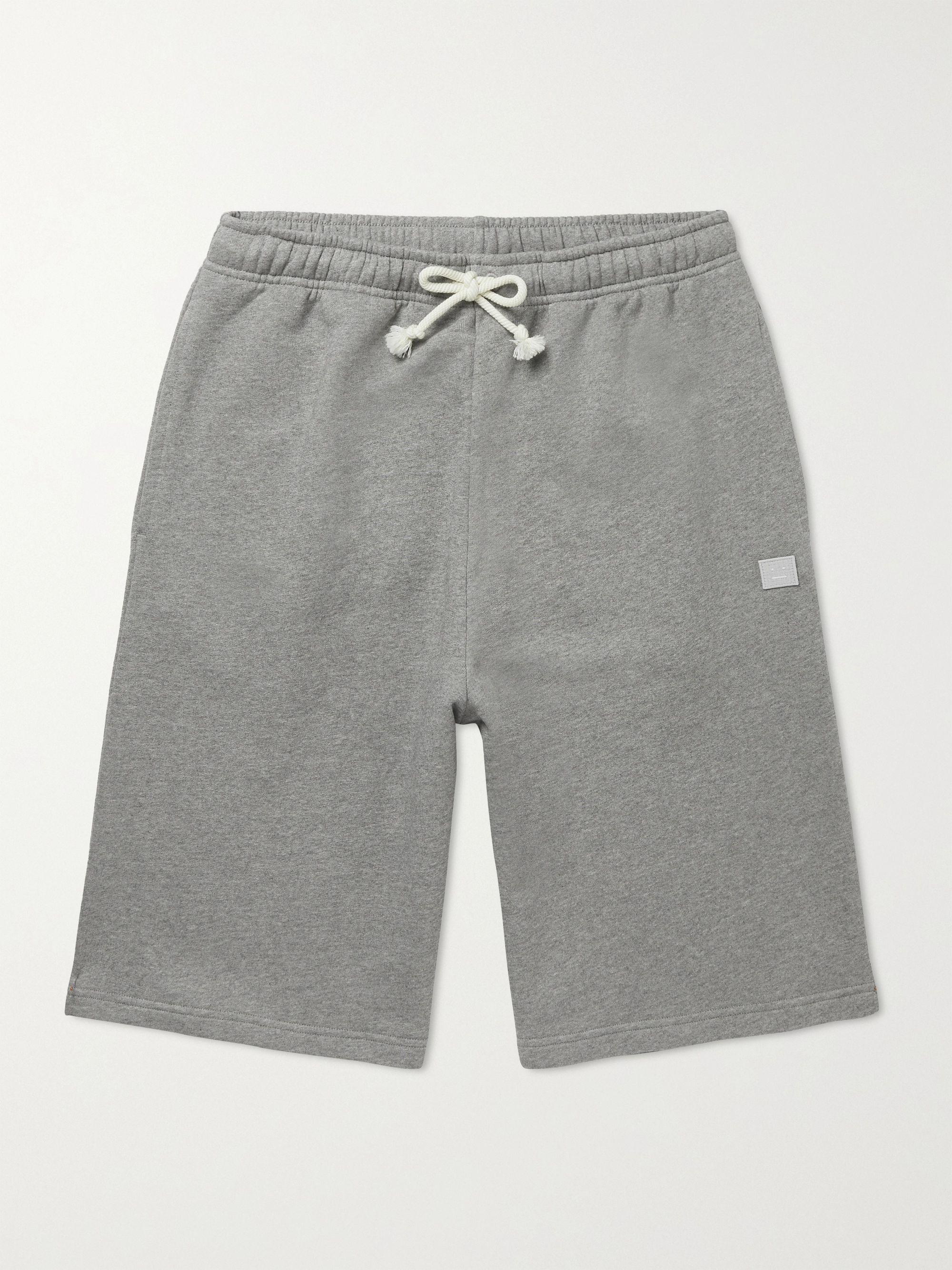 아크네 스튜디오 Acne Studios Logo-Appliqued Cotton-Jersey Shorts,Gray