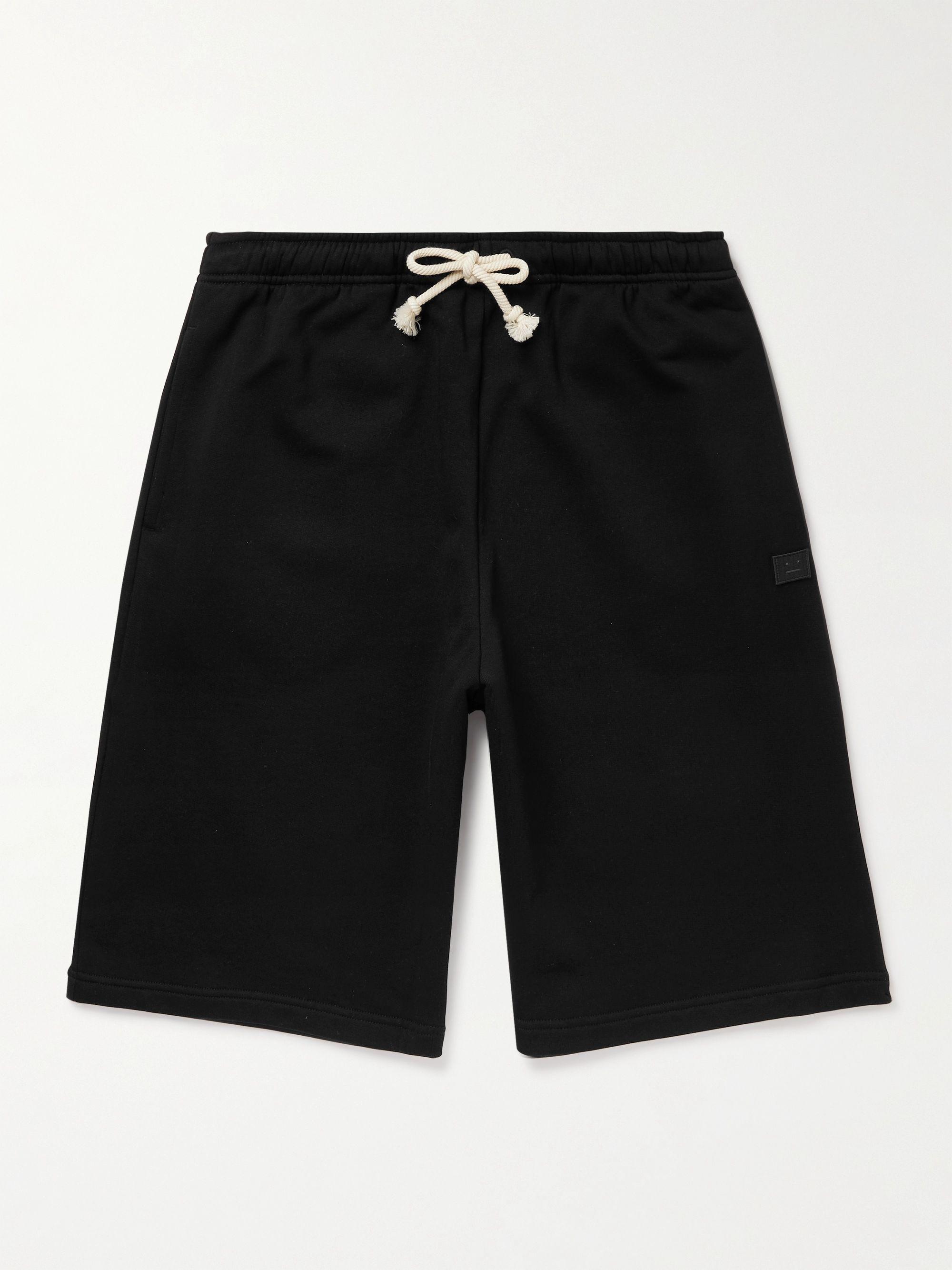 아크네 스튜디오 Acne Studios Wide-Leg Logo-Appliqued Cotton-Jersey Drawstring Shorts,Black
