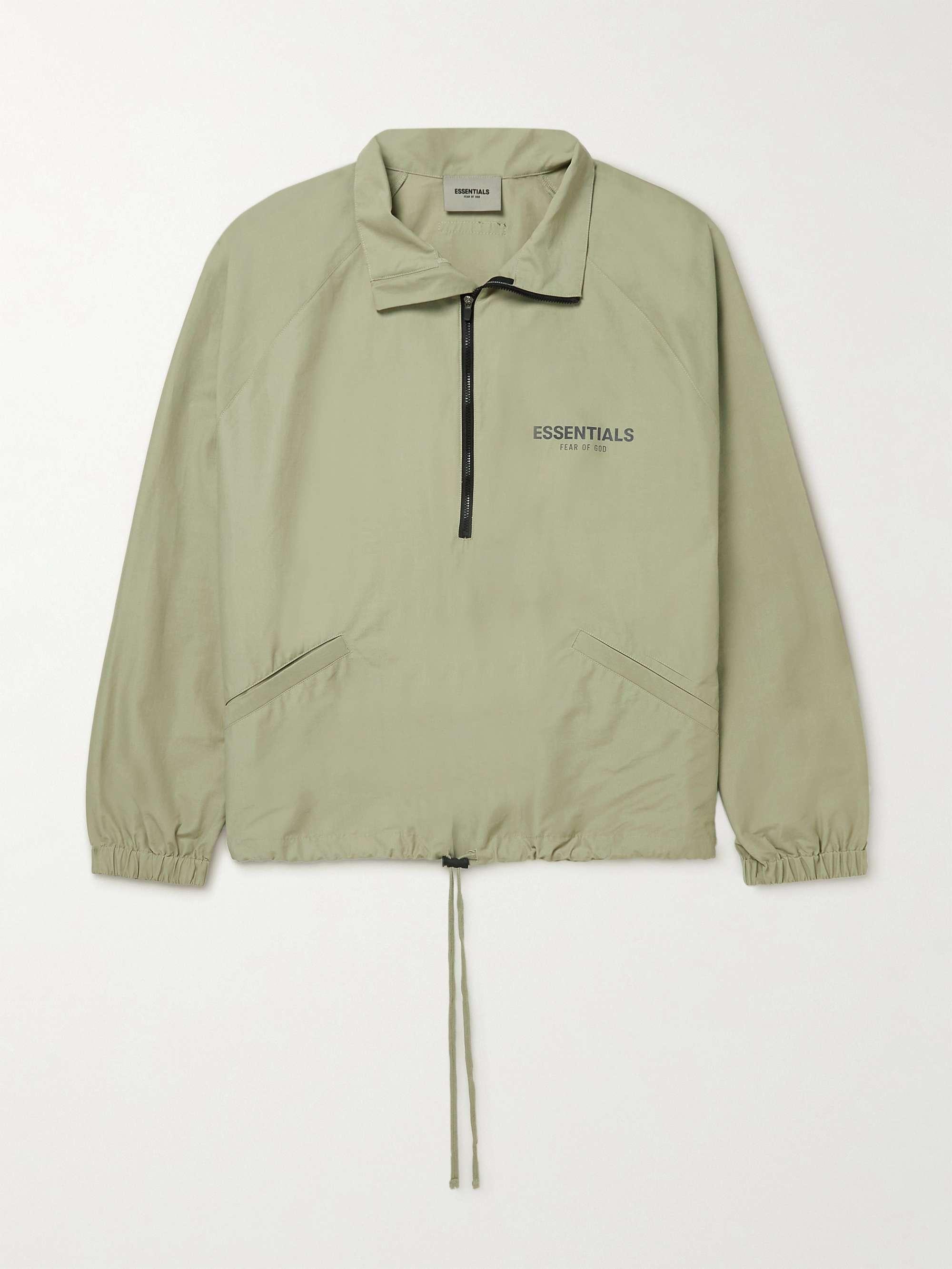 피어오브갓 에센셜 21FW 트랙자켓 FEAR OF GOD ESSENTIALS Logo-Print Cotton-Blend Poplin Half-Zip Track Jacket,Green