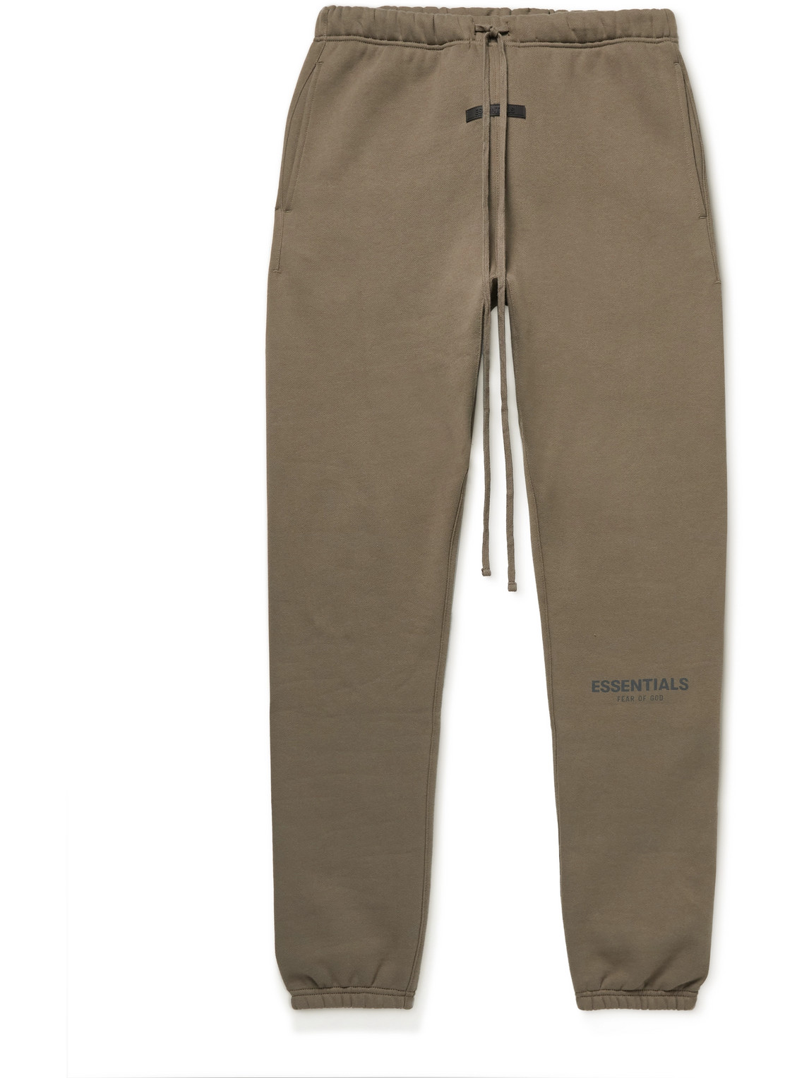 Fear Of God Essentials Tapered Logo-print Cotton-blend Jersey Sweatpants In Brown