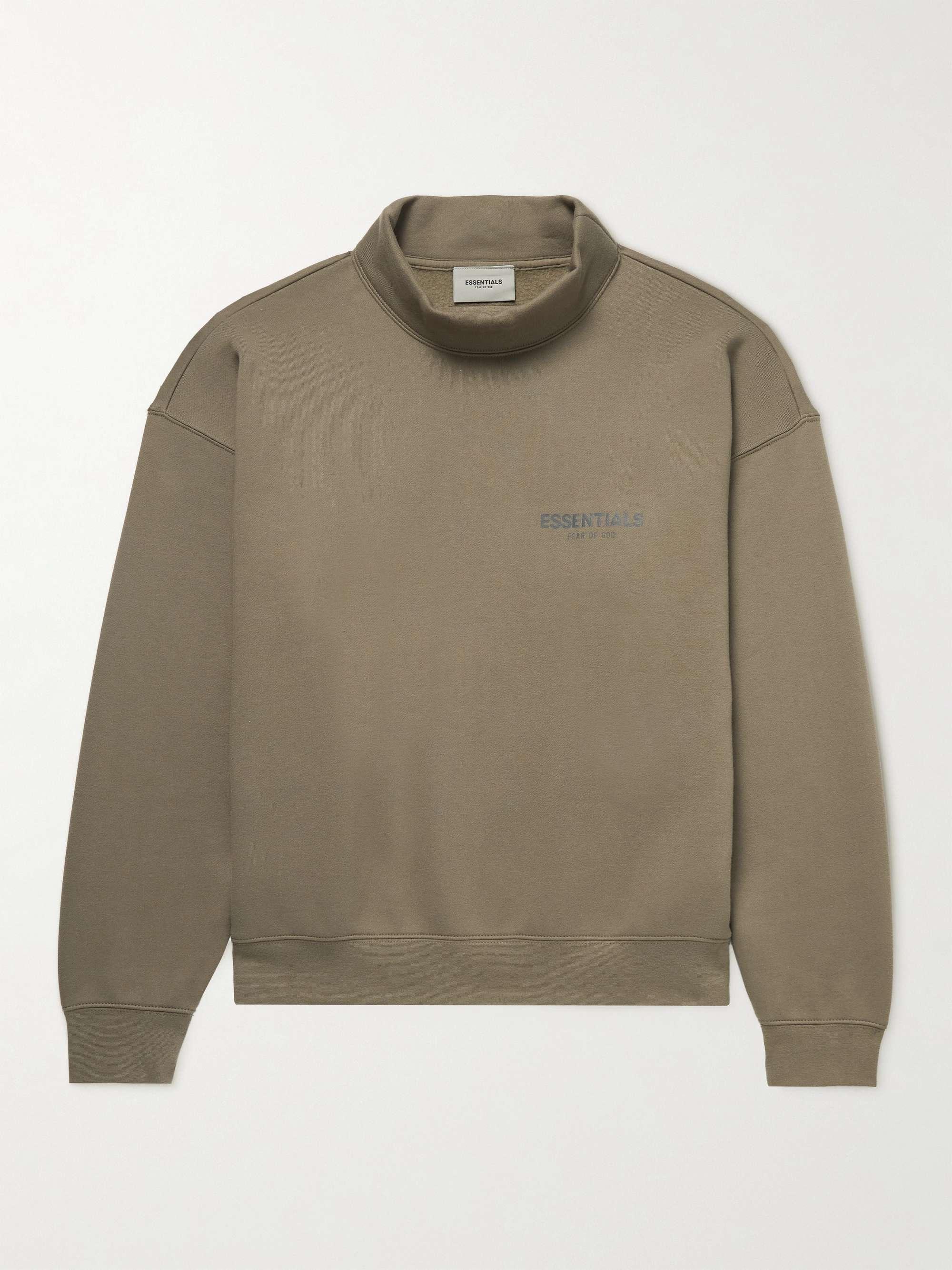 피어오브갓 에센셜 21FW 스웨트셔츠 FEAR OF GOD ESSENTIALS Logo-Print Cotton-Blend Jersey Mock-Neck Sweatshirt,Taupe
