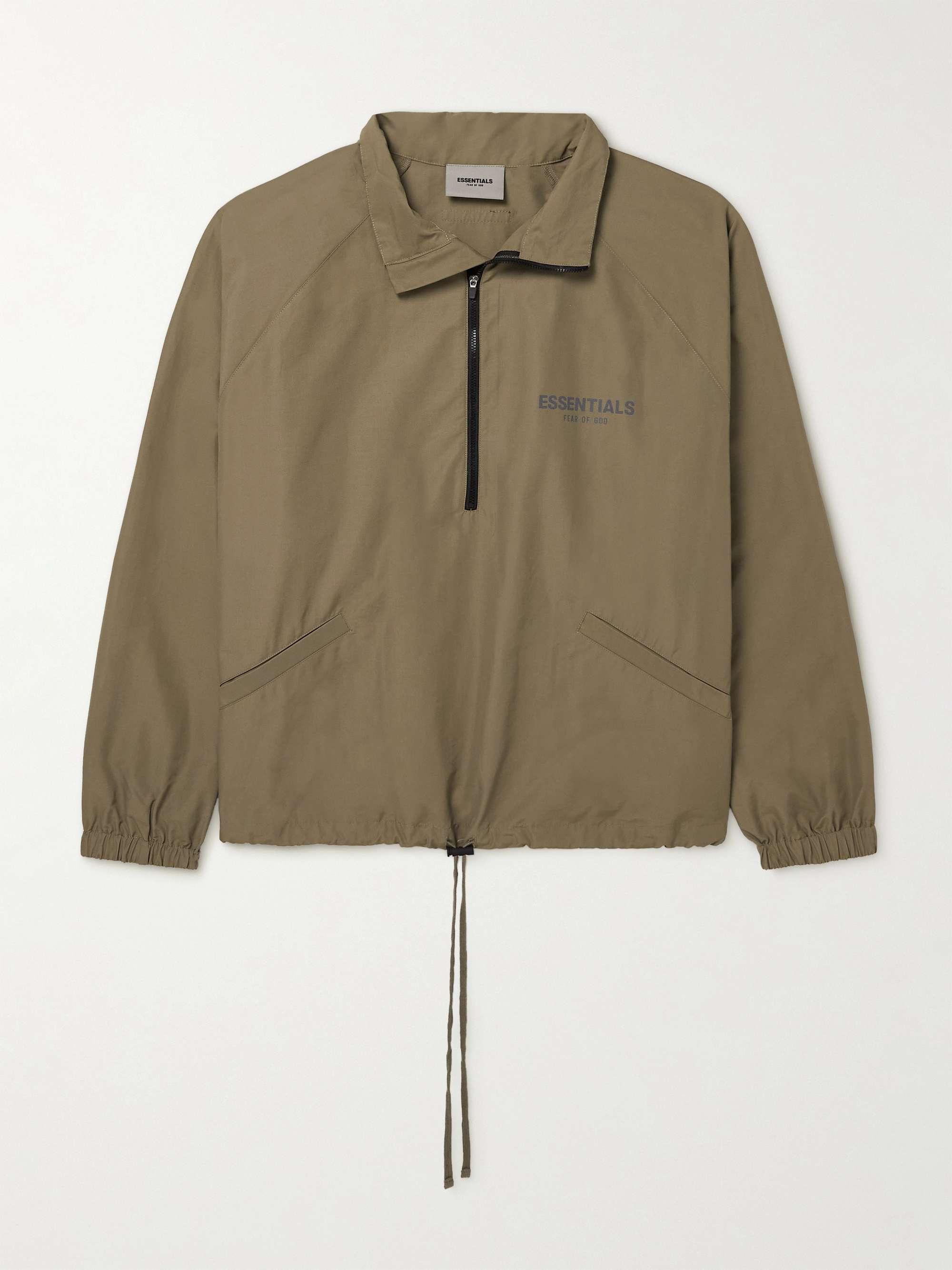 피어오브갓 에센셜 21FW 트랙자켓 FEAR OF GOD ESSENTIALS Logo-Print Cotton-Blend Poplin Half-Zip Track Jacket,Gray