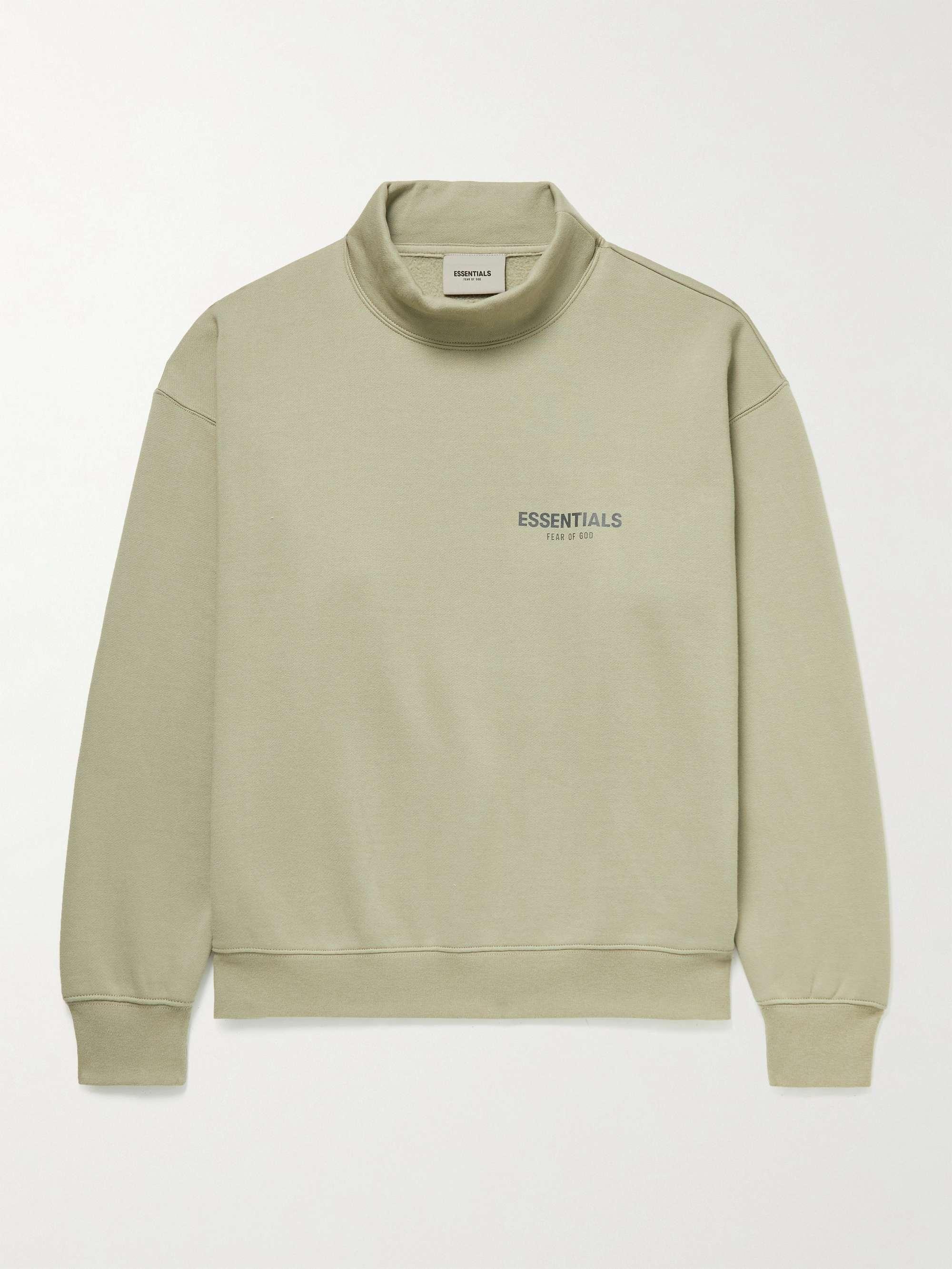피어오브갓 에센셜 21FW 스웨트셔츠 FEAR OF GOD ESSENTIALS Logo-Print Cotton-Blend Jersey Mock-Neck Sweatshirt,Green