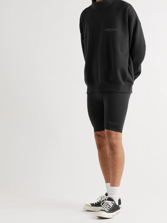 FEAR OF GOD ESSENTIALS Logo-Print Cotton-Blend Jersey Mock-Neck Sweatshirt