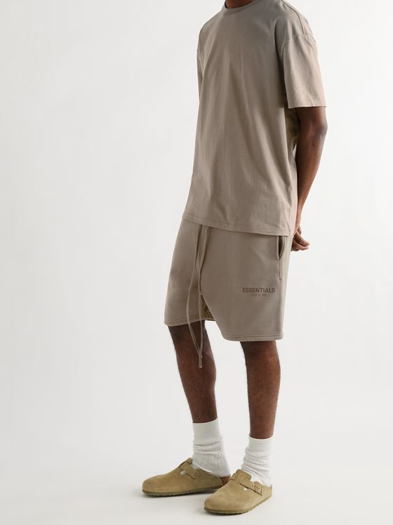 FEAR OF GOD ESSENTIALS Wide-Leg Logo-Print Cotton-Blend Jersey Shorts
