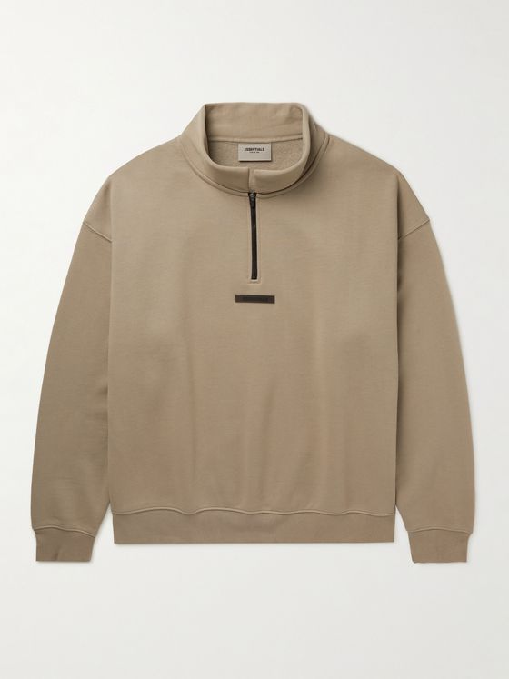 FEAR OF GOD ESSENTIALS Logo-Detailed Cotton-Blend Jersey Mock-Neck Half-Zip Sweatshirt