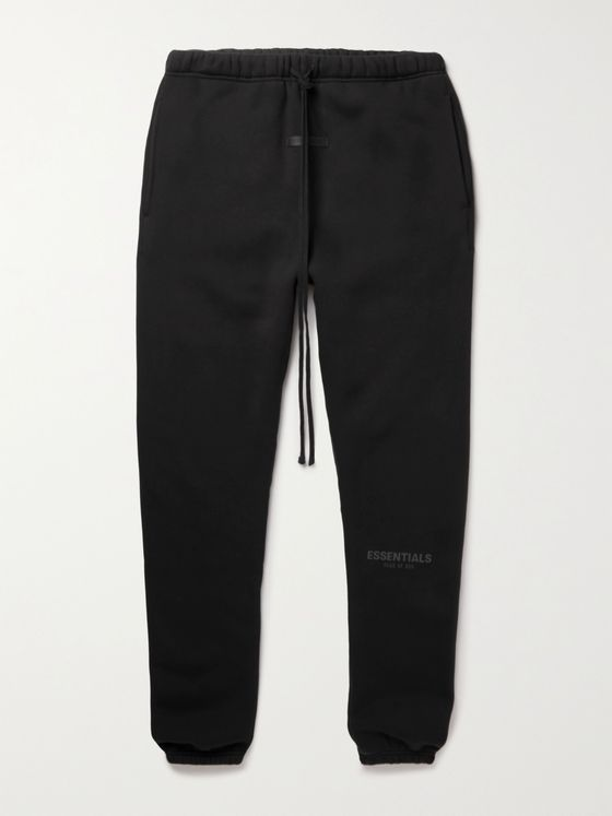 FEAR OF GOD ESSENTIALS Slim-Fit Tapered Logo-Print Cotton-Blend Jersey Sweatpants