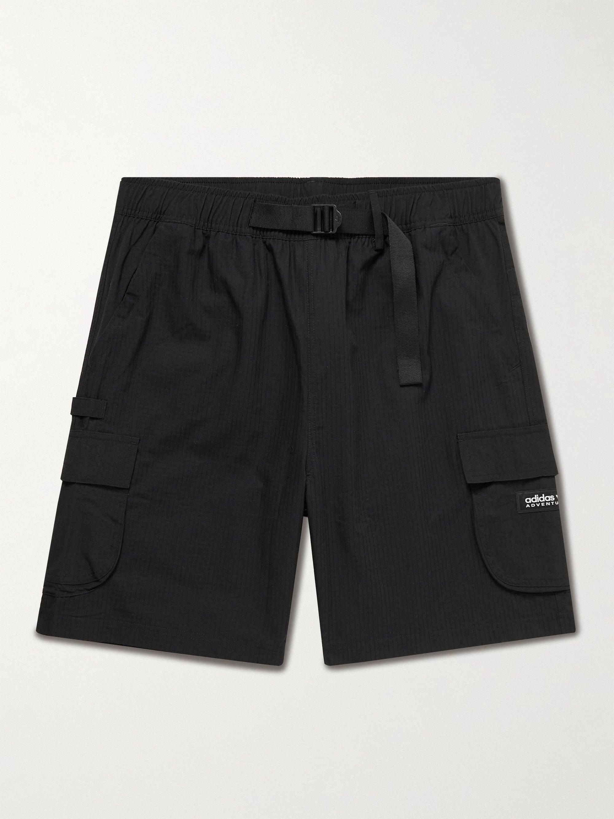 아디다스 Adidas Wide-Leg Belted Cotton-Ripstop Shorts,Black