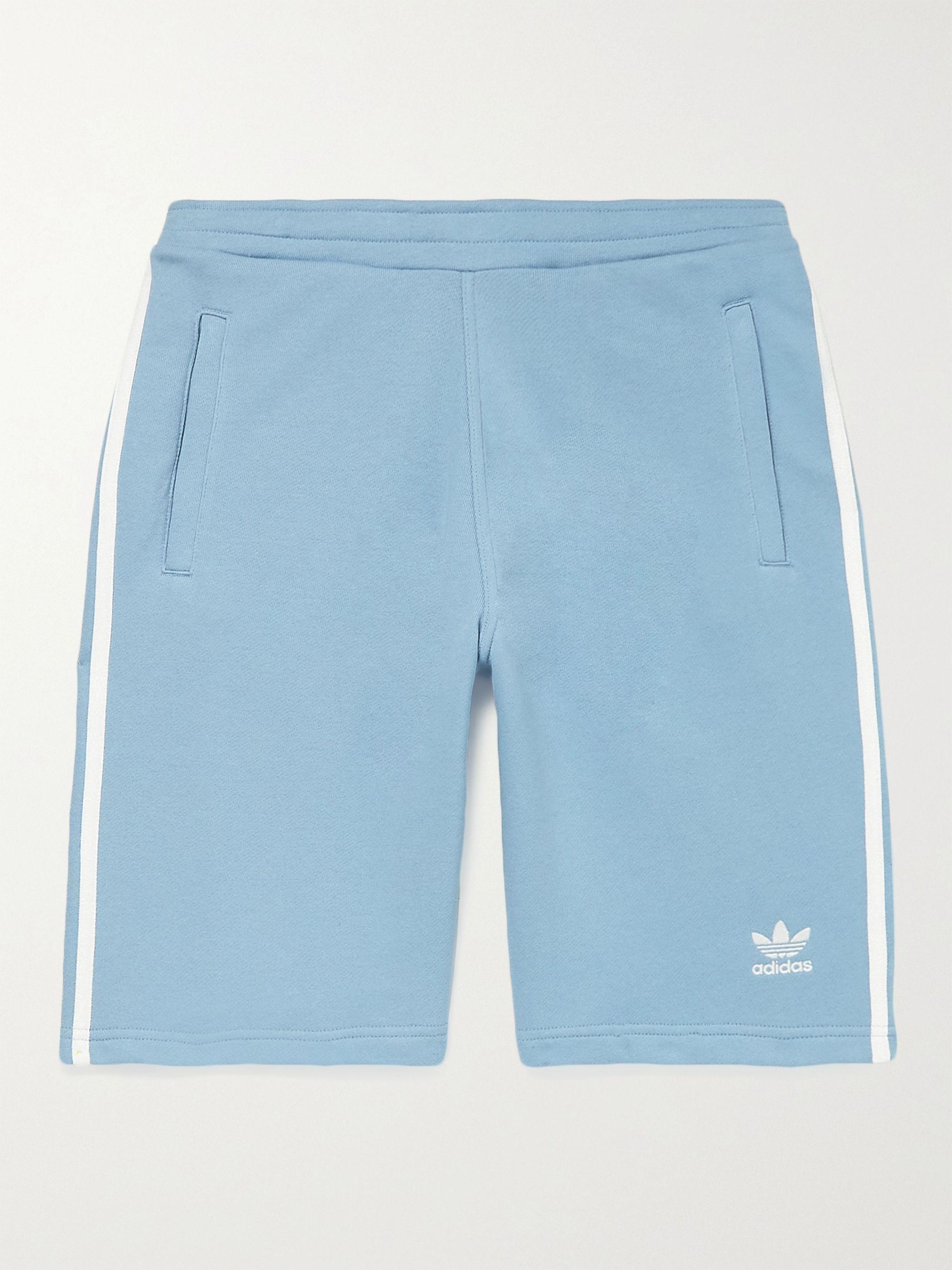 아디다스 Adidas Logo-Embroidered Striped Cotton-Jersey Shorts,Blue