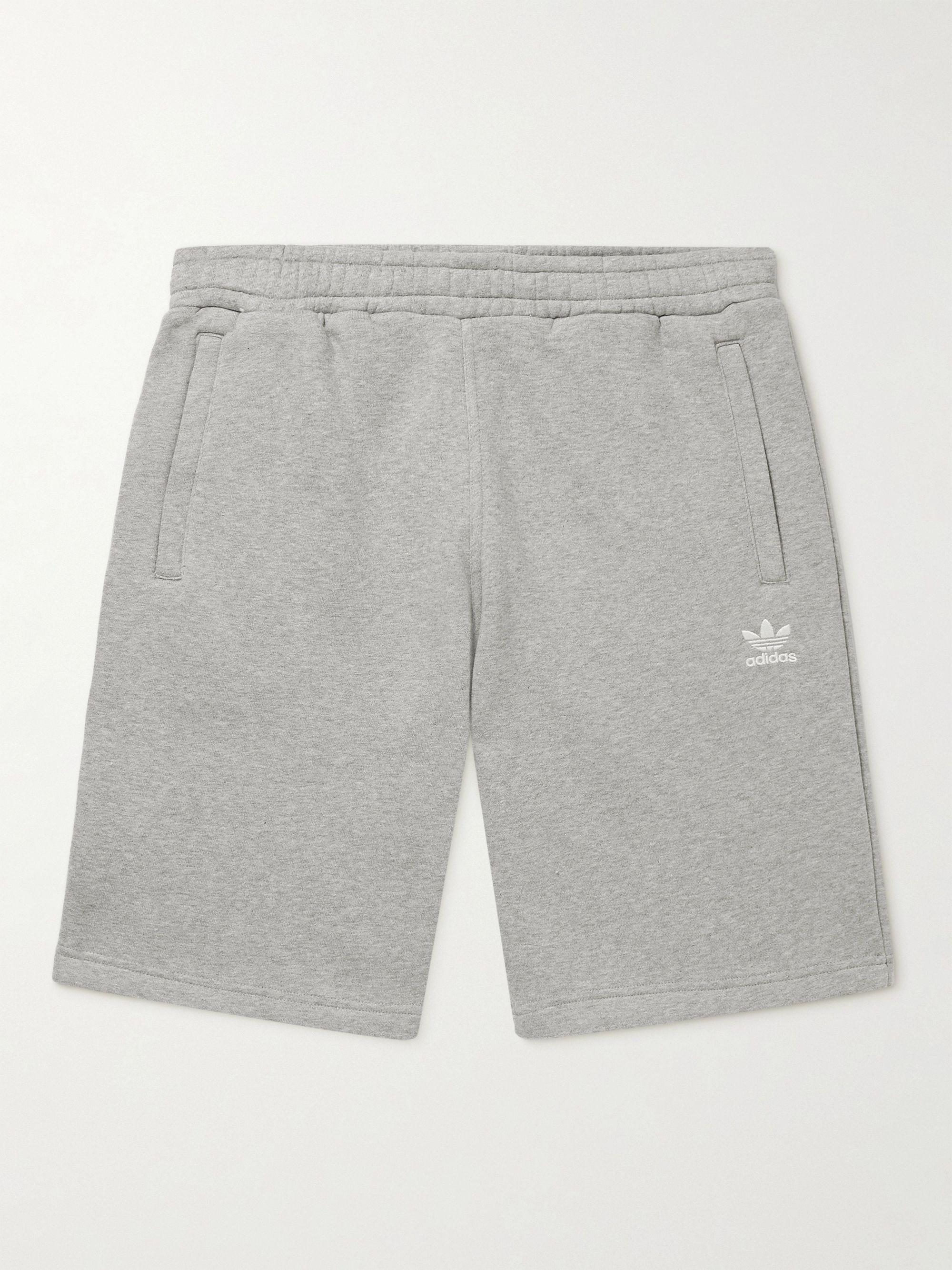 아디다스 Adidas Logo-Embroidered Cotton-Blend Jersey Shorts,Gray