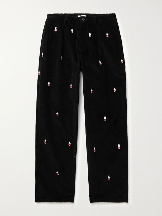 POP TRADING COMPANY + Miffy Pleated Logo-Embroidered Cotton-Corduroy Suit Trousers