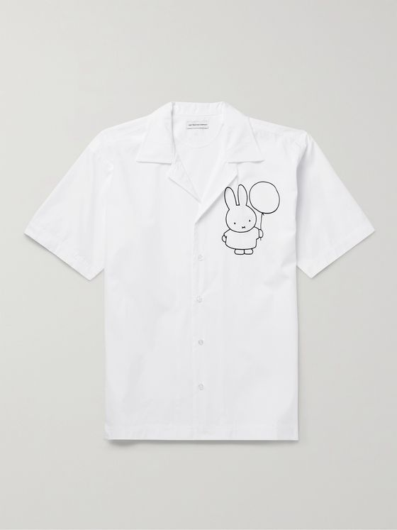 POP TRADING COMPANY + Miffy Hugo Camp-Collar Logo-Print Cotton-Poplin Shirt