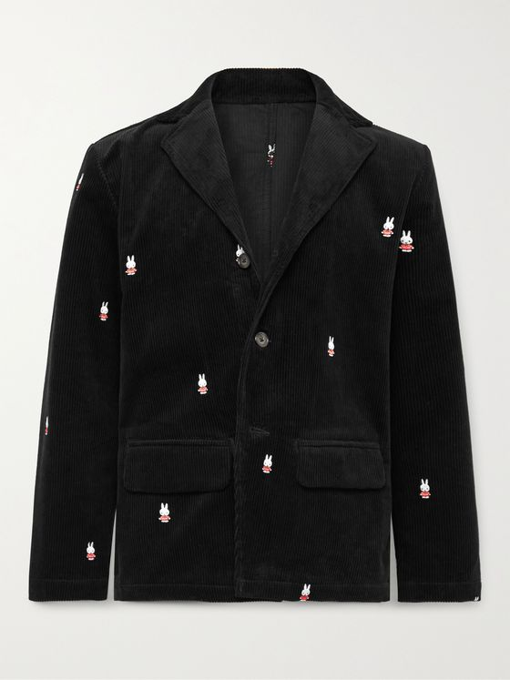POP TRADING COMPANY + Miffy Logo-Embroidered Cotton-Corduroy Suit Jacket