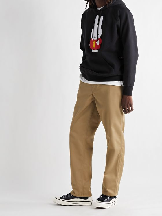 POP TRADING COMPANY + Miffy Logo-Appliquéd Fleece-Back Cotton-Jersey Hoodie