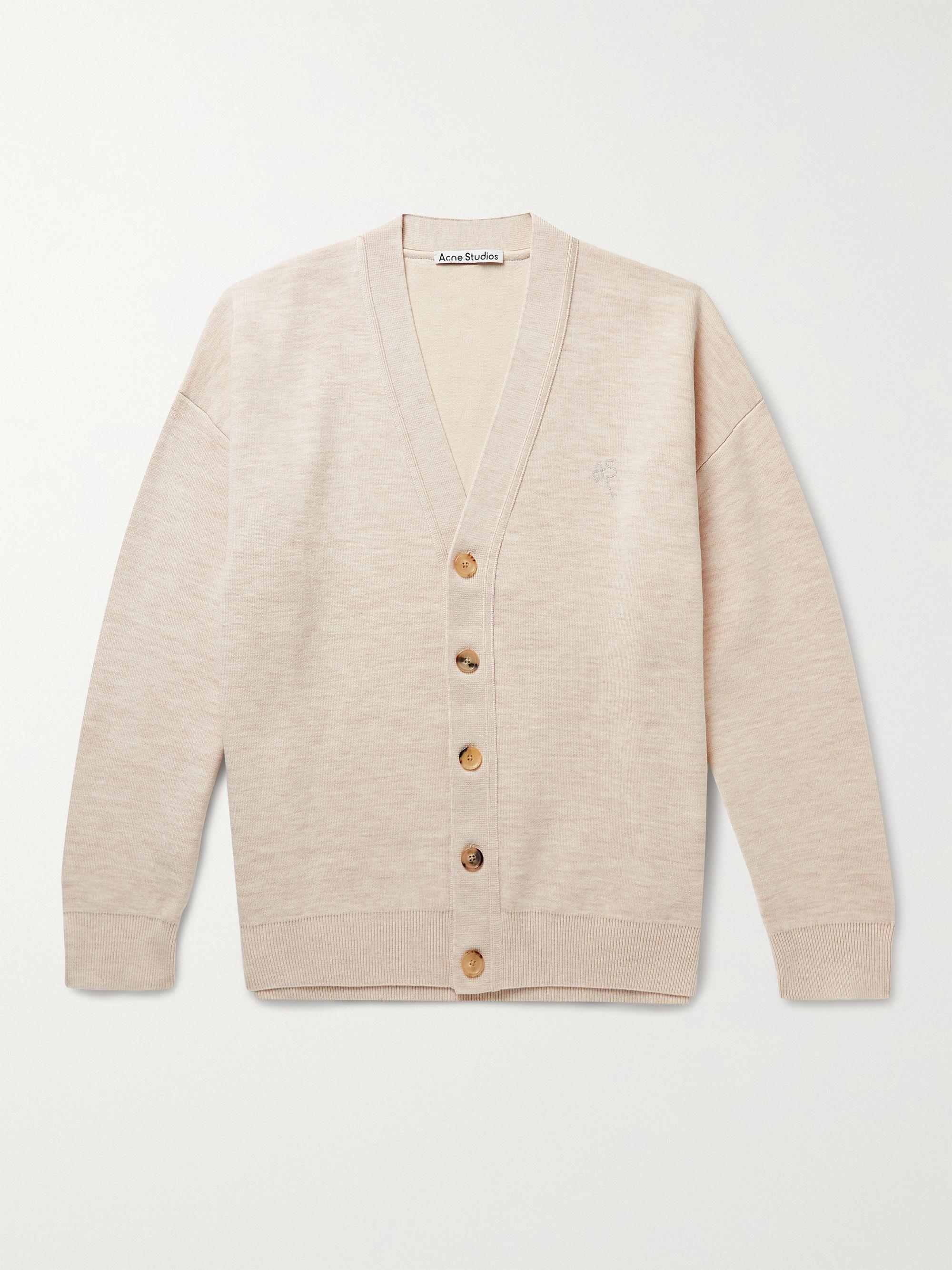 아크네 스튜디오 울 코튼 가디건 Acne Studios Logo-Embroidered Wool and Cotton-Blend Cardigan,Beige