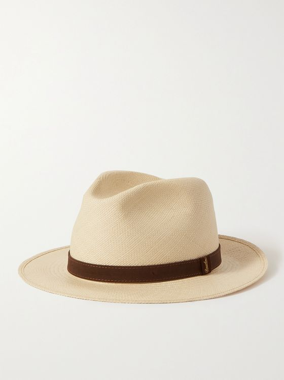 BORSALINO Suede-Trimmed Straw Panama Hat