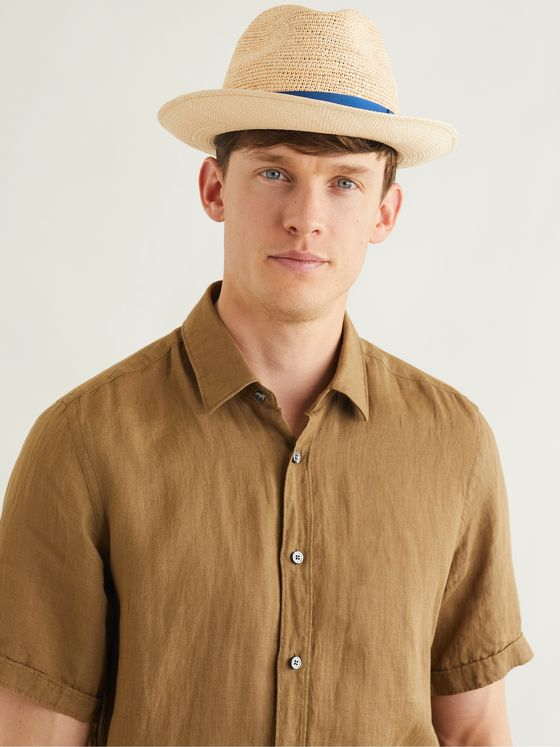 BORSALINO Grosgrain-Trimmed Crocheted Straw Panama Hat