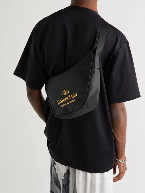BALENCIAGA Logo-Embroidered Shell Messenger Bag