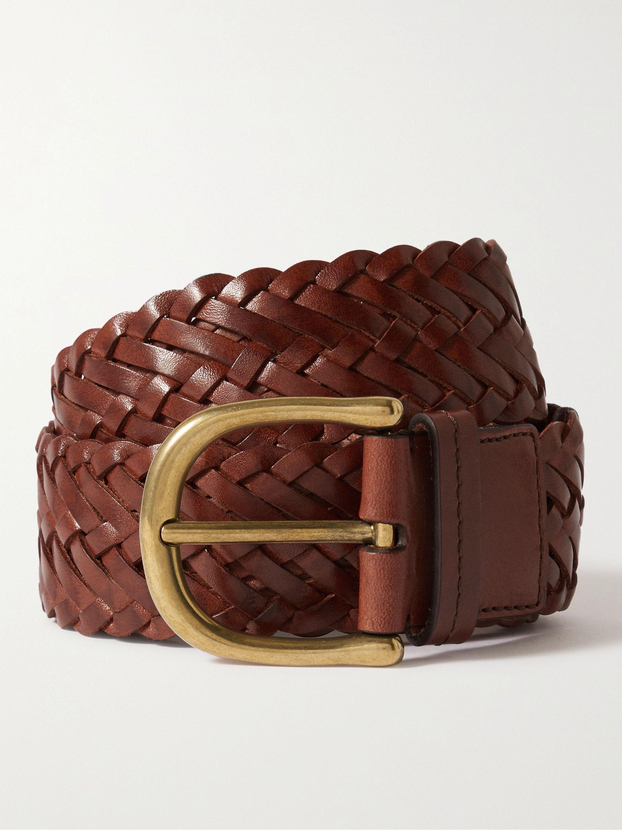 톰 포드 벨트 Tom Ford 4cm Woven Leather Belt,Brown