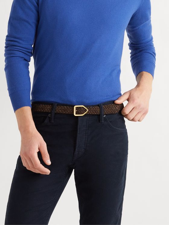 TOM FORD 2.5cm Leather-Trimmed Woven Suede Belt