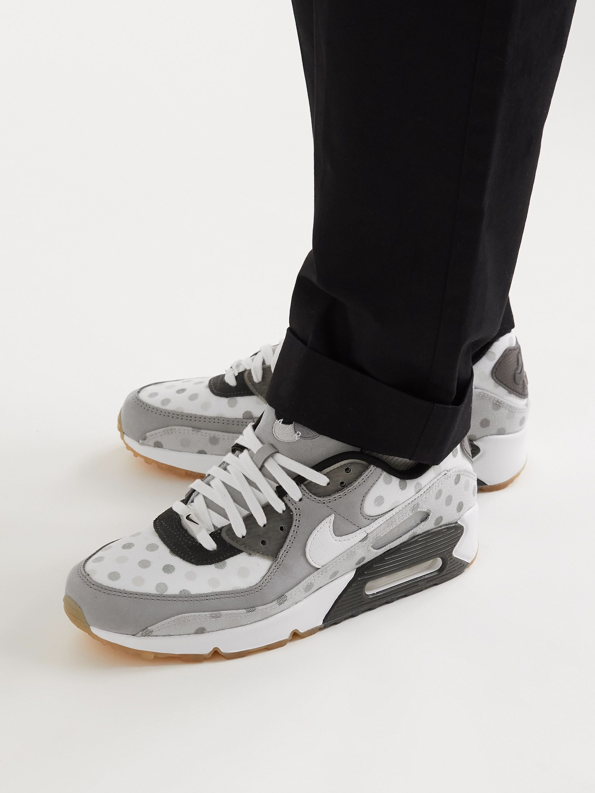 Air Max 90 NRG Polka-Dot Mesh, Leather and Suede Sneakers