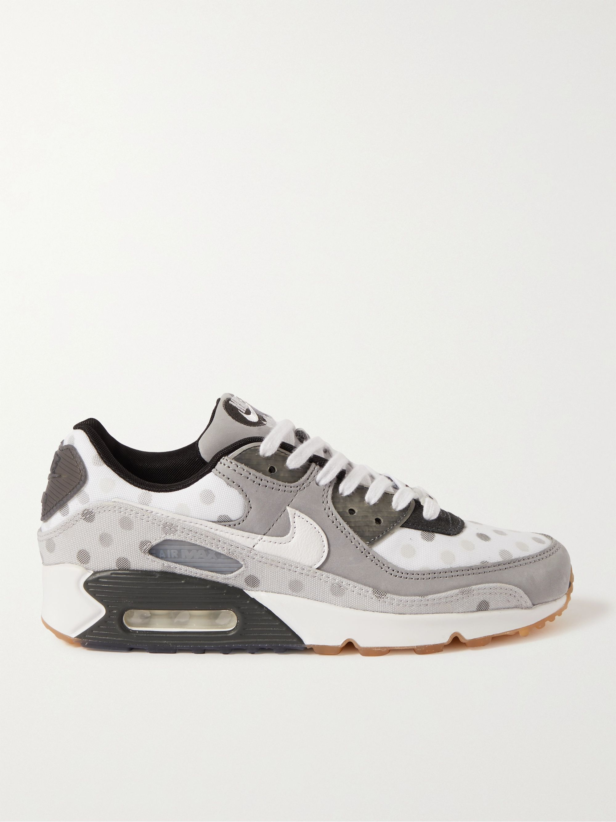 White Air Max 90 NRG Polka-Dot Mesh, Leather and Suede Sneakers ...