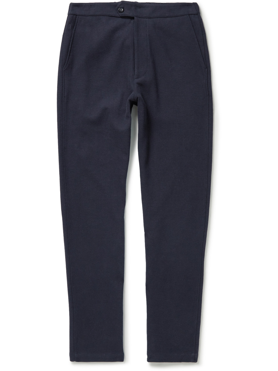 Hamilton And Hare Travel Embroidered Waffle-knit Cotton-blend Trousers In Blue