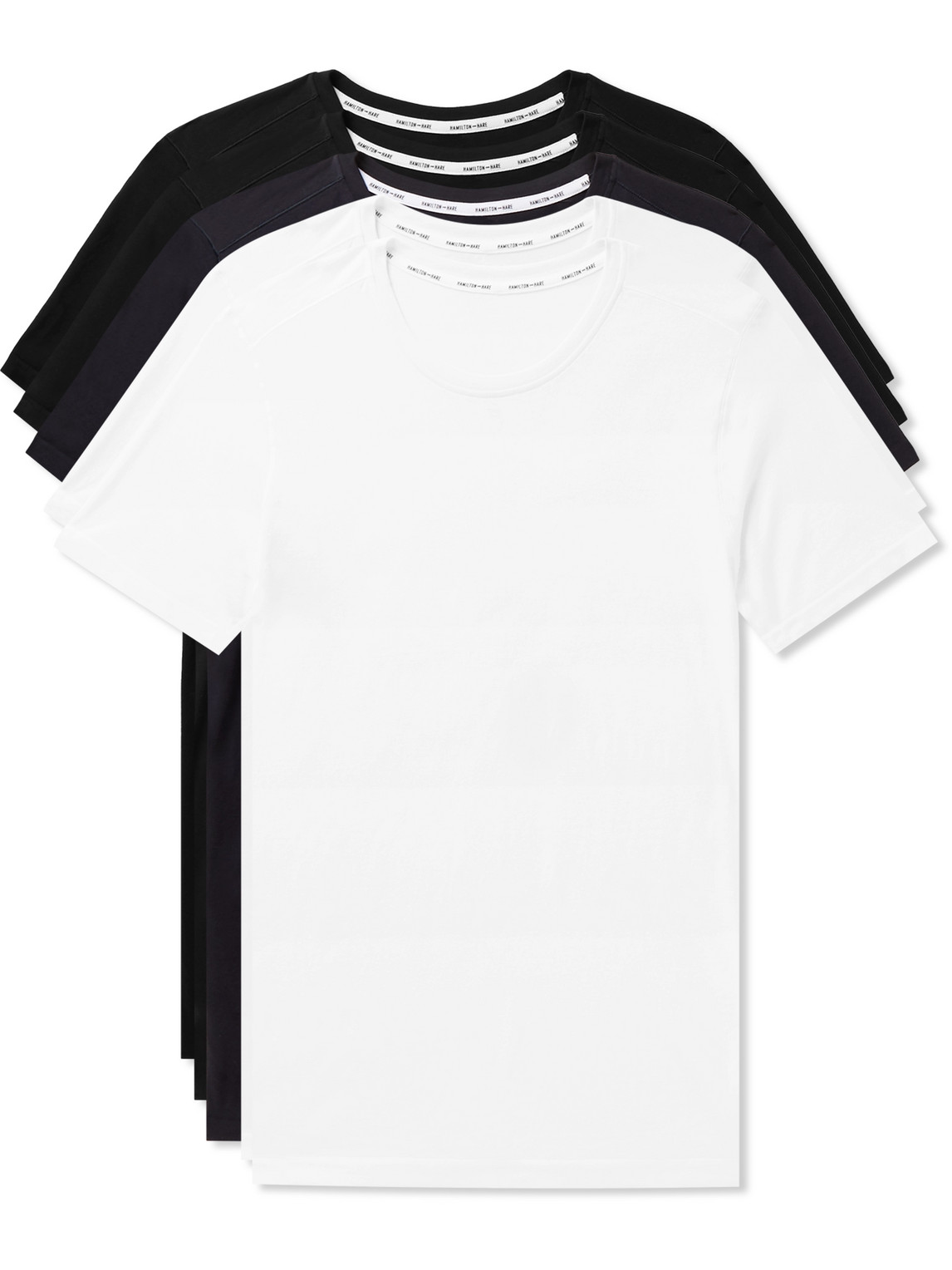 Hamilton And Hare Five-pack Slim-fit Seamless Cotton-jersey T-shirts In Multi