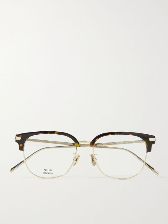 BERLUTI Square-Frame Gold-Tone and Tortoiseshell Acetate Optical Glasses