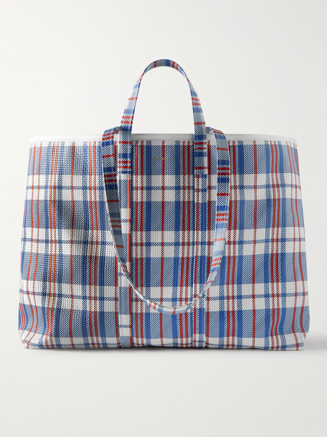 Balenciaga Barbes Embossed Checked Leather Tote Bag In 4269