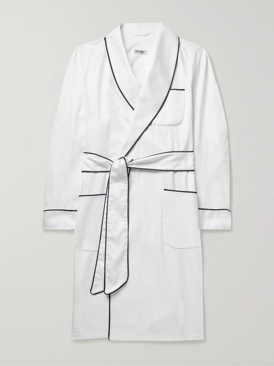PAUL STUART Piped Herringbone Cotton Robe