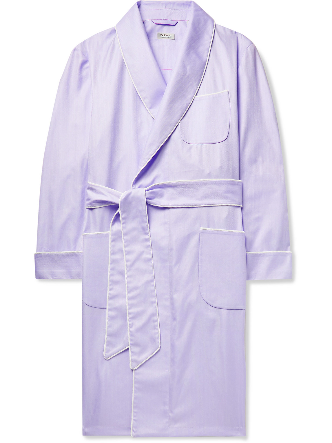paul stuart - piped herringbone cotton robe - men - purple - m