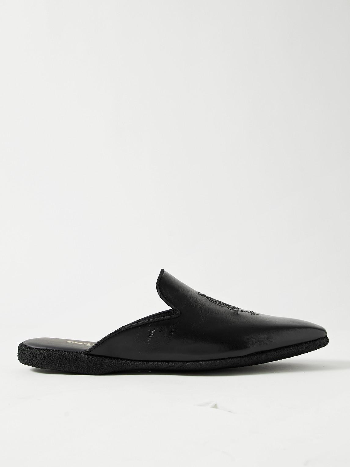 paul stuart - hamilton embroidered velvet slippers - men - black - 7
