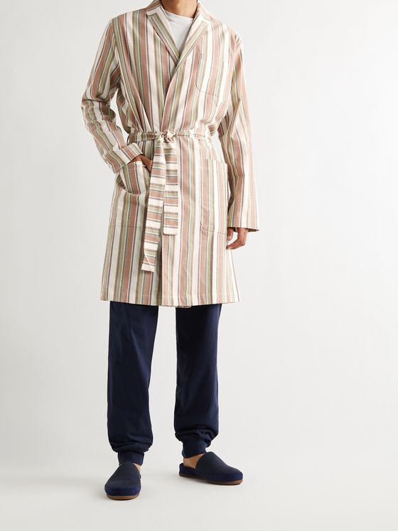 OLIVER SPENCER LOUNGEWEAR Canvey Striped Organic Cotton Robe