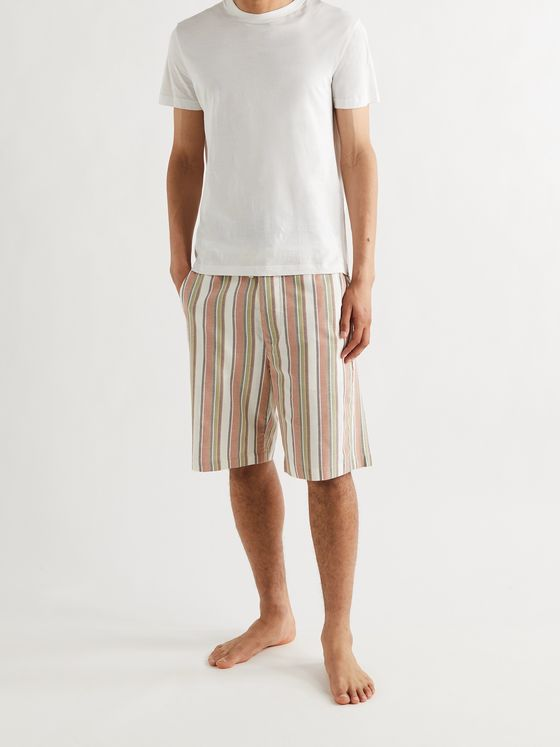 OLIVER SPENCER LOUNGEWEAR Canvey Wide-Leg Striped Organic Cotton-Twill Drawstring Shorts