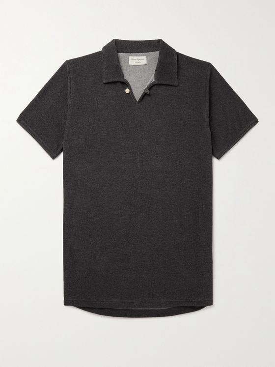 OLIVER SPENCER LOUNGEWEAR Ashbourne Cotton-Blend Terry Polo Shirt