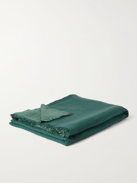 R+D.LAB Tubo Fringed Two-Tone Linen, Cashmere and Silk-Blend Throw