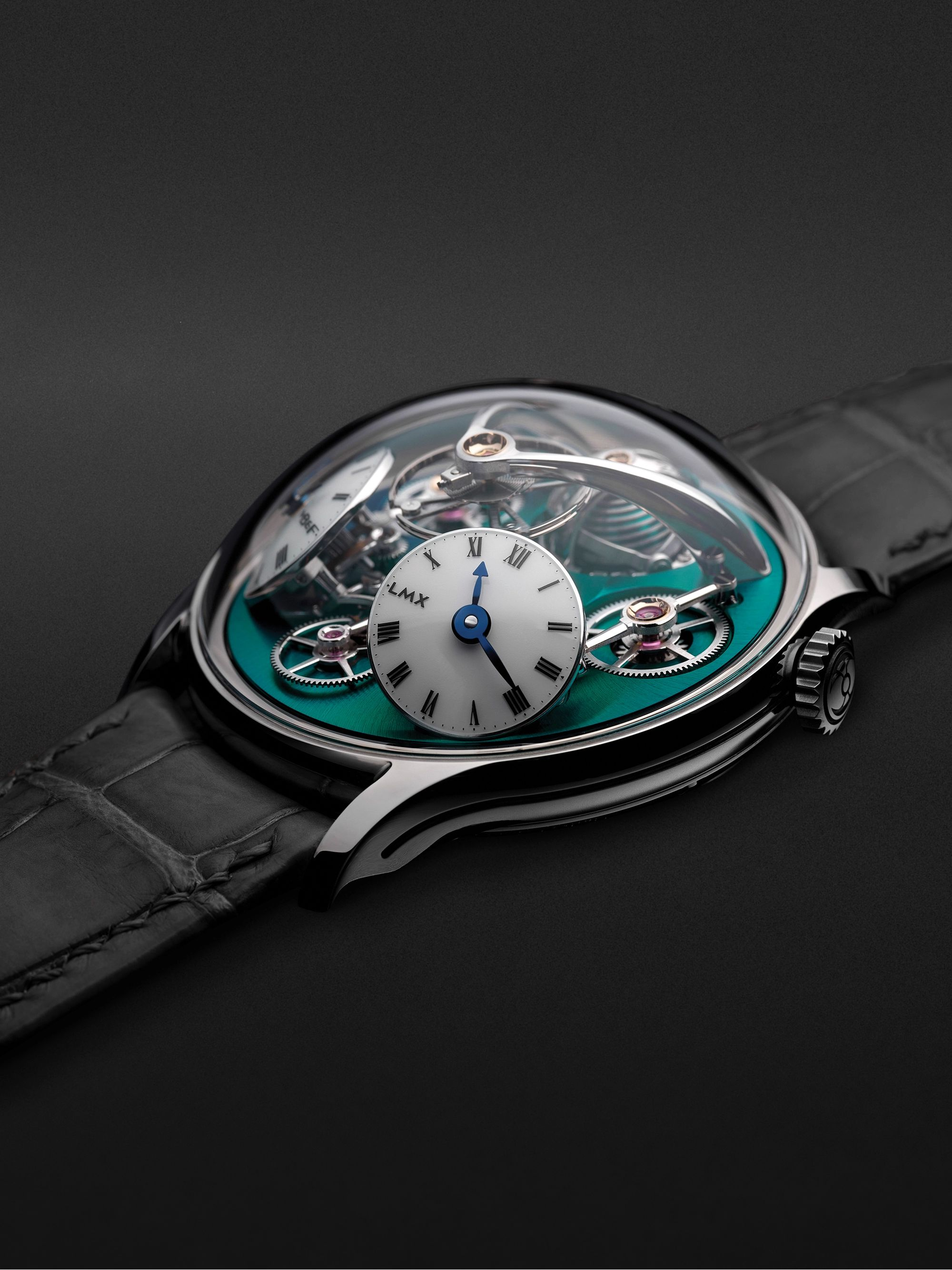 MB&F LMX Limited Edition Hand-Wound 44mm Titanium and Alligator Watch