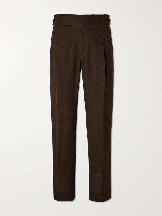 YURI YURI Clifford Wide-Leg Pleated Merino Wool Trousers