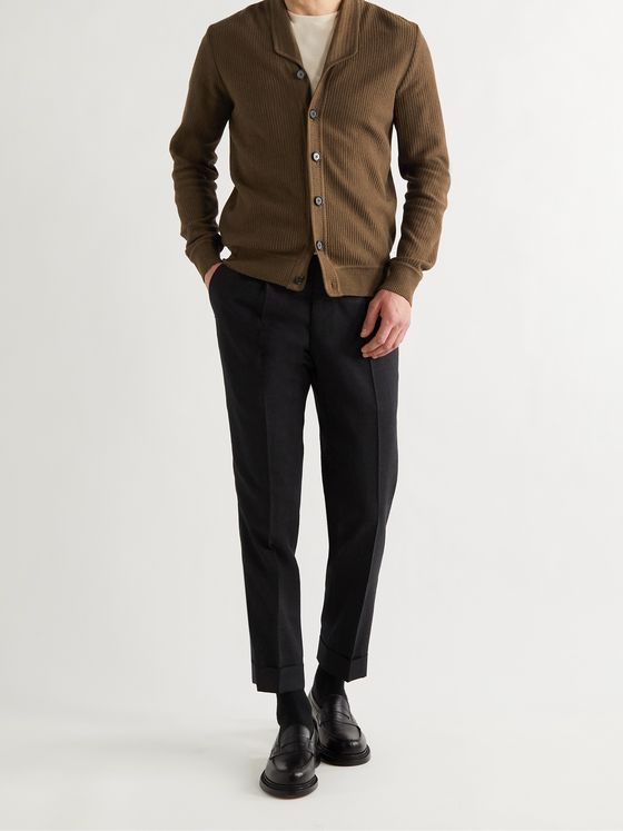 YURI YURI Slim-Fit Ribbed Merino Wool Cardigan