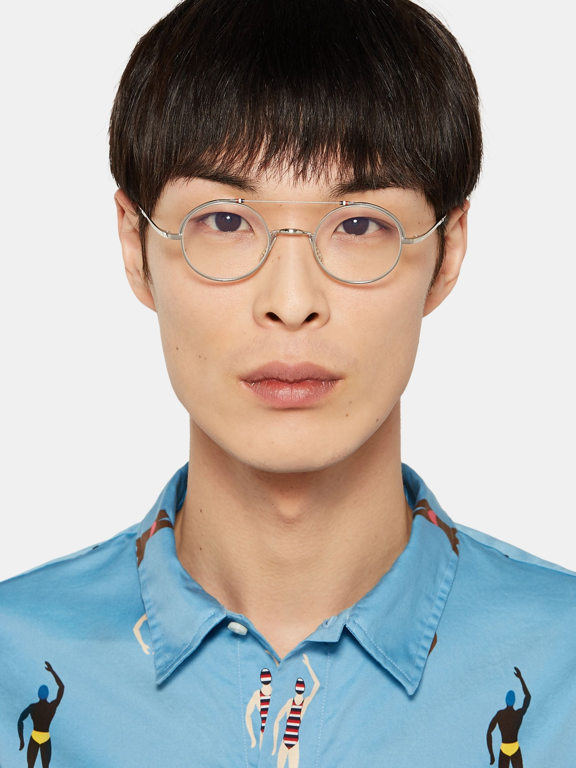 Thom Browne Round-Frame Gold and Silver-Tone Optical Glasses