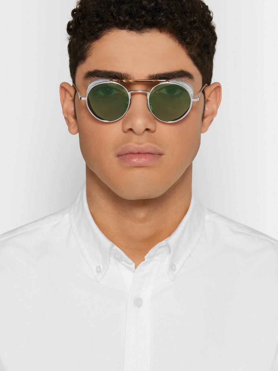 Thom Browne Round-Frame Metal Sunglasses