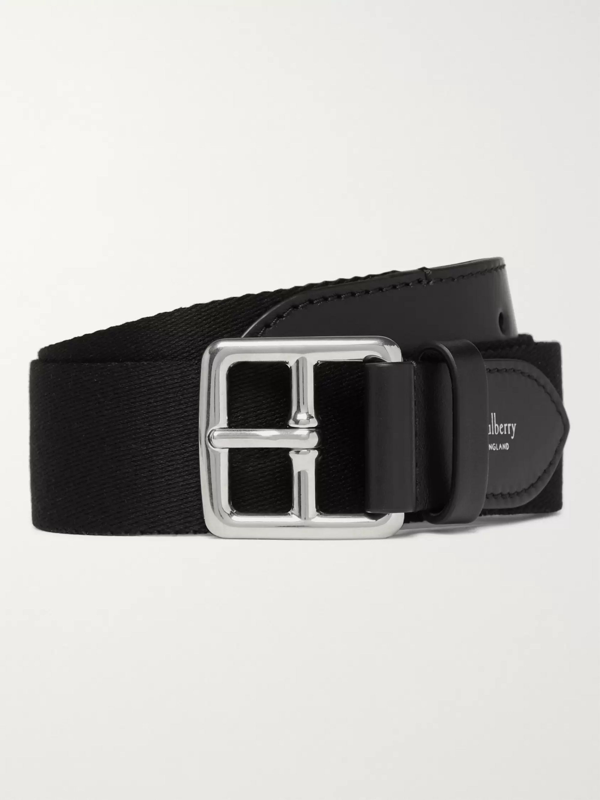 Mulberry 3cm Boho Buckle Leather-Trimmed Webbing Belt