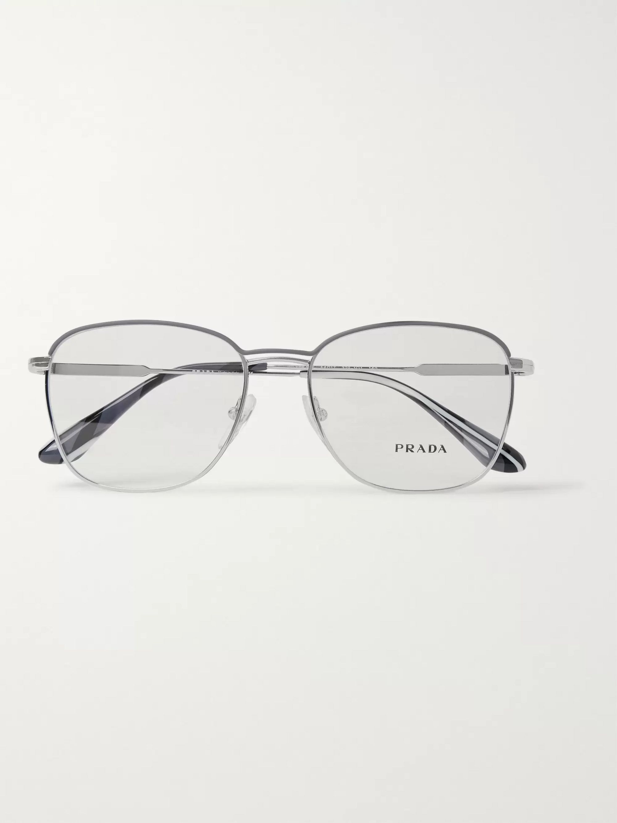 Prada Square-Frame Silver-Tone Optical Glasses