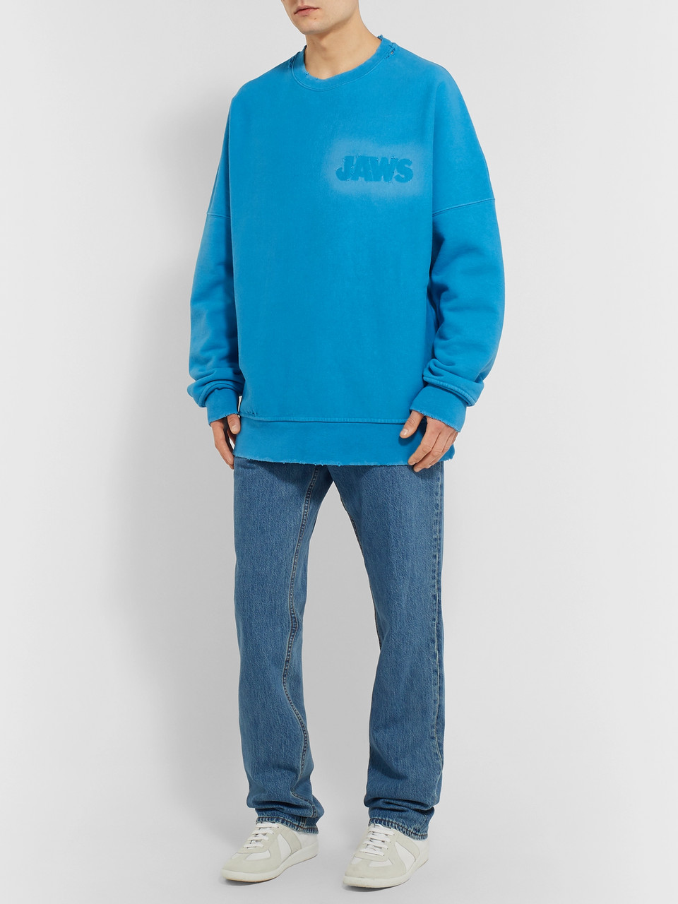 CALVIN KLEIN 205W39NYC Jaws Oversized Distressed Loopback Cotton-Jersey Sweatshirt