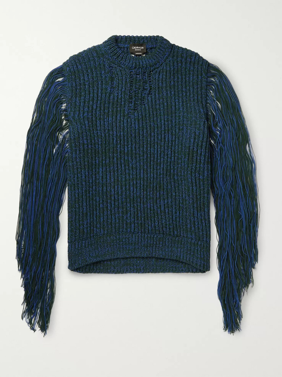 CALVIN KLEIN 205W39NYC Fringed Mélange Knitted Sweater